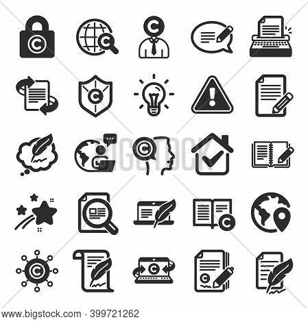 Copywriting Book Icons. Set Of Copyright Protection, Signature And Feedback Icons. Typewriter, Idea