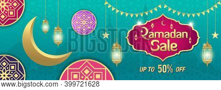 Ramadan Sale, Web Header Or Banner Design With Golden Shiny Frame, Arabic Lanterns And Golden Cresce