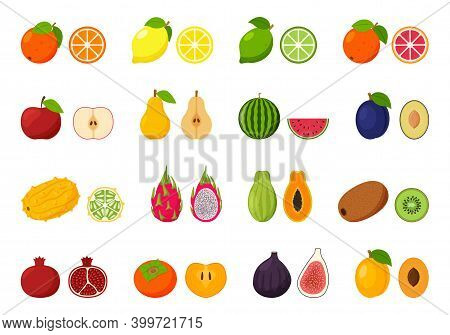 Large Collection Of Tropical, Exotic, Citrus Fruits. Icon Set Of Cutaway Fruits. Pairs Of Fruit, Who