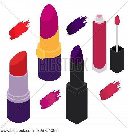 Lipstick Icons Set. Isometric Set Of Lipstick Vector Icons For Web Design Isolated On White Backgrou