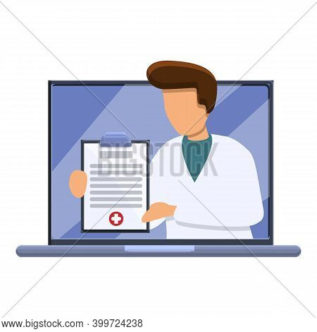 Telemedicine Doctor Icon. Cartoon Of Telemedicine Doctor Vector Icon For Web Design Isolated On Whit