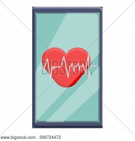Telemedicine Heartrate Icon. Cartoon Of Telemedicine Heartrate Vector Icon For Web Design Isolated O