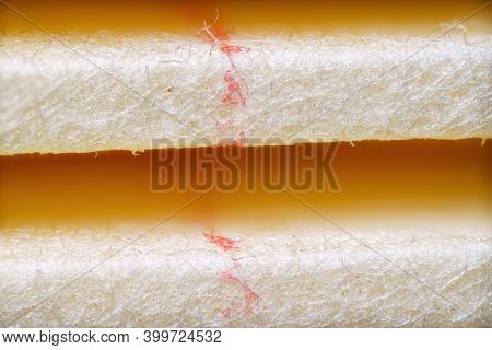 New Clean Car Air Purifier Filter Paper Surface, Extreme Closeup Of Paper Light Filter