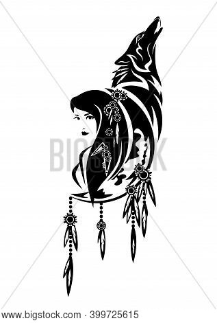 Beautiful Shaman Woman, Crescent Moon, Feathered Decor And Howling Wolf - Tribal Spirit Animal Conce