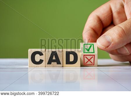 The Hand Turn Wooden Block With Red Reject X And Green Confirm Tick As Change Concept Of Cad. Word C