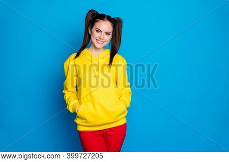 Photo Of Attractive Amazing Lady Funny Two Tails Hairdo Toothy Beaming Smiling Good Mood Wear Casual