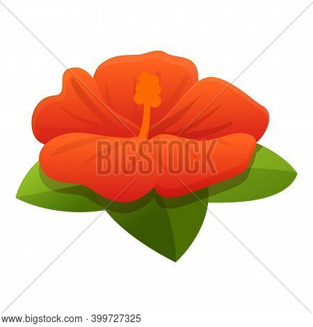 Beach Hibiscus Icon. Cartoon Of Beach Hibiscus Vector Icon For Web Design Isolated On White Backgrou