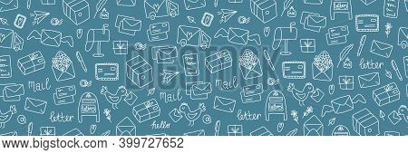 Post Doodle Web Banner. Hand Drawn Cute Mails And Letters, Documents, Package And Envelope, Vintage