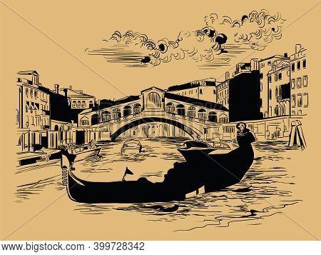 Venice Hand Drawing Vector Illustration Rialto Bridge Brown