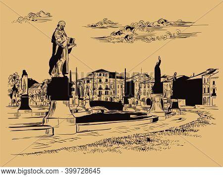 Venice Drawing Illustration Prato Della Valle Brown