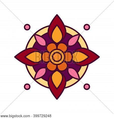 Colorful Web Icon With Rangoli, Ritual Hindu Art. It Is Used During Festivals Diwali, Onam And Makar