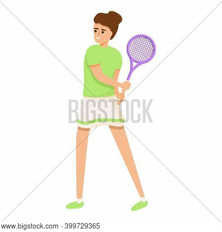 Swing Tennis Racket Icon. Cartoon Of Swing Tennis Racket Vector Icon For Web Design Isolated On Whit