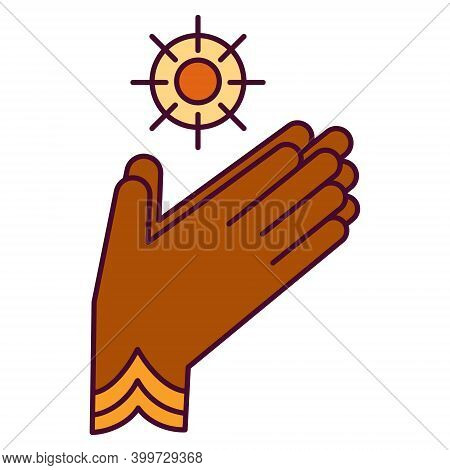 Bright Icon With Hands In Pray Gesture - Puja. Pongal, Hindu Festival Of Sun God Surya. Symbol Of Ma