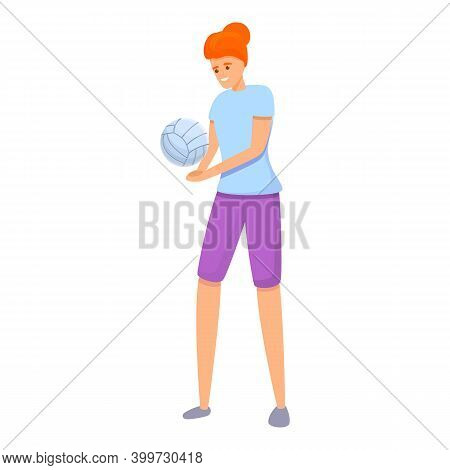 Volleyball Student Icon. Cartoon Of Volleyball Student Vector Icon For Web Design Isolated On White