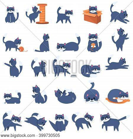 Playful Cat Icons Set. Cartoon Set Of Playful Cat Vector Icons For Web Design