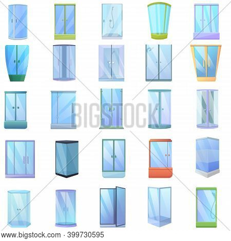 Shower Stall Icons Set. Cartoon Set Of Shower Stall Vector Icons For Web Design