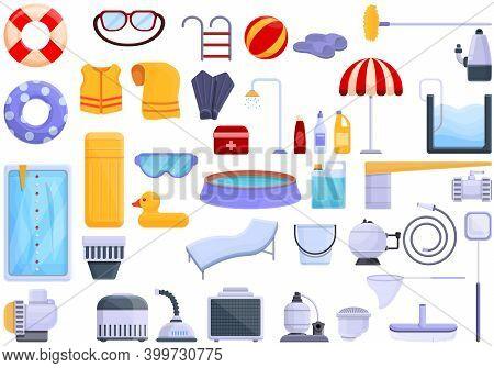 Equipment For Pool Icons Set. Cartoon Set Of Equipment For Pool Vector Icons For Web Design
