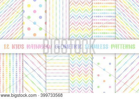 Set Of Kids Rainbow Seamless Patterns With Pastel Colorful Lines From Dots, Vector Illustration. Che