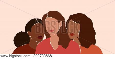 Three Beautiful Women With Different Skin Colors Together. African, Latin And Caucasian Girls Stand