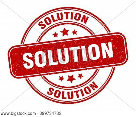 Solution Stamp. Solution Label. Round Grunge Sign