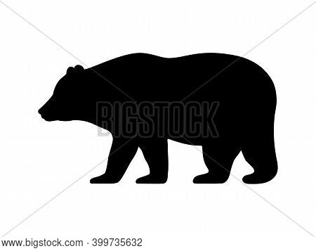 Bear Silhouette. Vector Illustration Of Black Icon Logo Bear Silhouette Isolated On White. Outline S