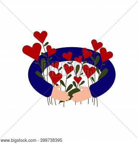Hands Holding A Bouquet With Hearts Instead Of Flowers. Valentines Day Greeting Card.