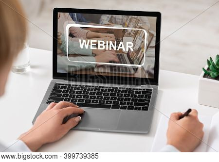 Unrecognizable Caucasian Woman Studying Online On Laptop, Attending Webinar, Training Or Learning So