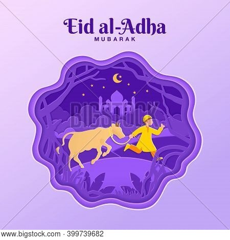 Eid Al-adha Greeting Card Concept Illustration In Paper Cut Style With Muslim Boy Bring Cattle For S