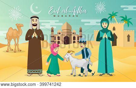 Eid Al Adha Greeting Card. Cartoon Arab Family Celebrating Eid Al Adha With Desert, Camel And Mosque