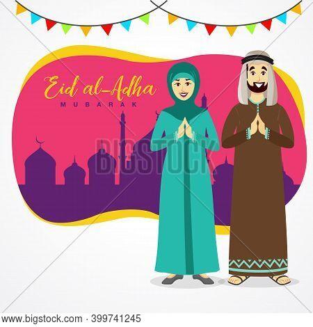 Eid Al Adha Greeting Card. Cartoon Arab Couple Celebrating Eid Al Adha With Mosque As Background