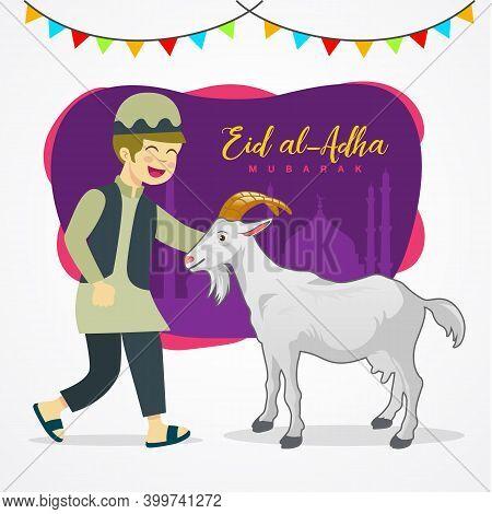 Eid Al Adha Greeting Card. Cute Cartoon Muslim Boy Holding A Goat For Sacrifice With Mosque As Backg