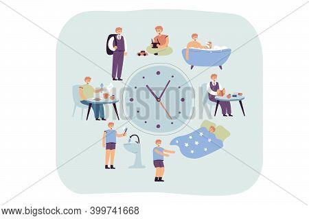 School Kids Daily Schedule According To Clock. Boy Sleeping, Taking Bath, Having Breakfast Or Dinner