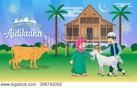 Eid Al Adha Greeting Card. Cartoon Muslim Kids Celebrating Eid Al Adha With Goat, Cow, And Tradition