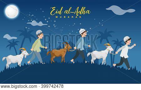 Eid Al Adha Greeting Card. Cartoon Muslim Boys Take A Goat For Sacrifice With With Full Moon, Stars
