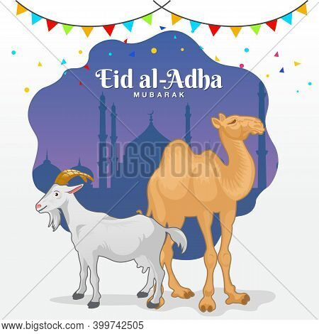 Eid Al Adha Logo With Goat And Camel.