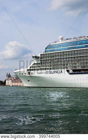 Venice, Italy- Sept 24, 2014: The Cruise Ship Celebrity Equinox Crosses The Venetian Lagoon At Morni