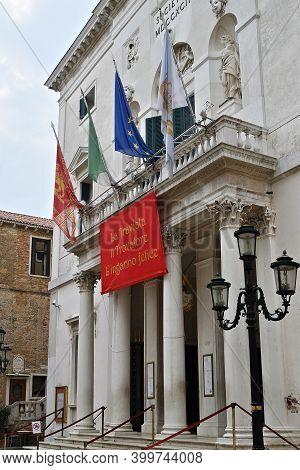 Venice, Italy - Sep 25, 2014: Poster Of Opera La Traviata On Facade The Theater In Venice, Famous  O