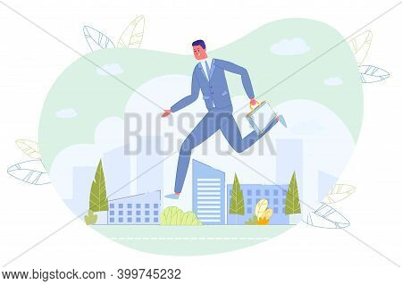 Businessman With Briefcase In Hand Rushing Over Cityscape With Skyscraper Building. Late For Work Or