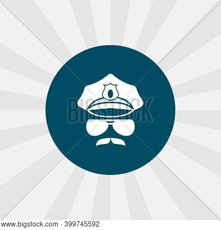 Police Head Icon. Police Cop Isolated Vector Icon. Police Design Element