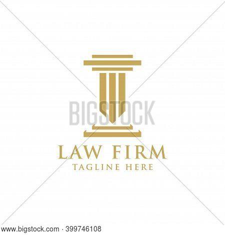Golden Law Firm Logo Design Template Vector Illustration