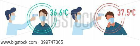 Vector Icons For Temperature Measurement. Checking Body Temperature With An Electronic Thermometer.