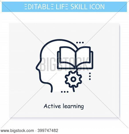 Active Learning Line Icon. Educability, Adaptability. Personality Strengths And Characteristics.soft