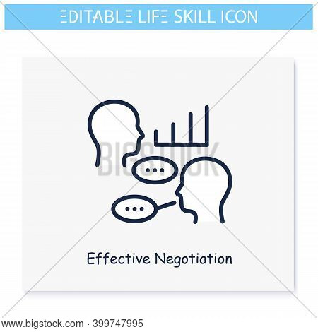 Effective Negotiations Line Icon. Diplomacy. Discussion Skill. Personality Strengths And Characteris