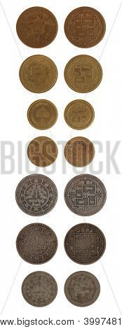 Nepalese rupee coins isolated on white poster