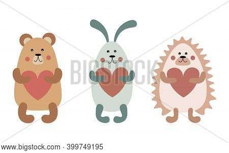 Woodland Animals Set In Boho Colors. Valentine's Day. Baby Shower. Baby Bear, Bunny And Hedgehog Hol