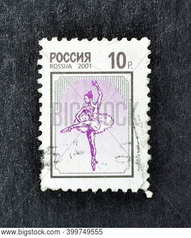 Russia - Circa 2001 : Cancelled Postage Stamp Printed By Russia, That Shows Ballerina, Circa 2001.