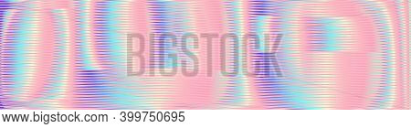 Pastel Colors Iridescent Abstract Background Of Linear Rounded Forms With Glow Moire Effect. Multico