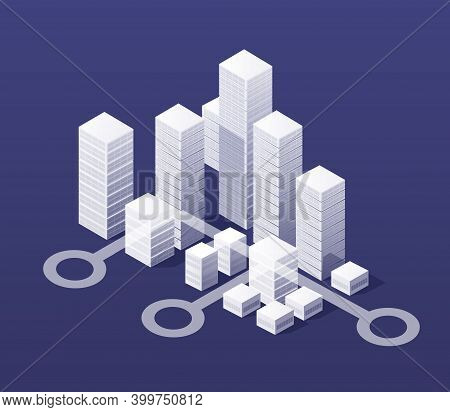 The Isometric City With Skyscraper From Urban Building Vector Architecture.