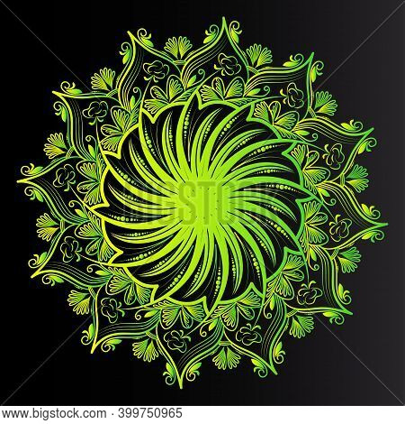 Natural Yellow Greenish Color Abstract Floral Background Of Islamic Motif