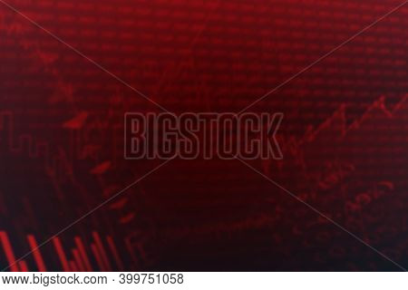 Abstract illustration of financial data processing against red background. global finances and business concept. illustration of global finances and business concept